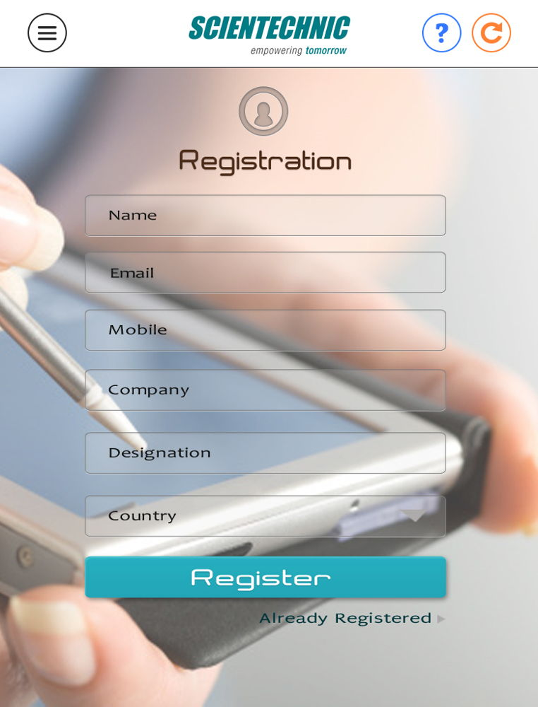 SCT Registration page